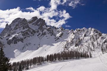 Slope in ski resort of Sesto, Alto Adige, Dolomites Alps, Italy