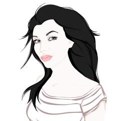 Fashion girl on white background hand drawn illustration