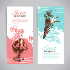 Banner set of vintage hand drawn sweet backgrounds
