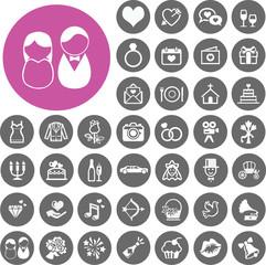 Wedding, bride and groom icons set. Illustration eps10