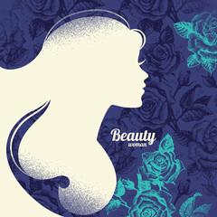 Beautiful girl silhouette. Vintage retro background