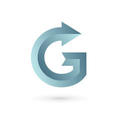 Letter G arrow ribbon logo icon design template elements.