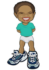 African boy booted a huge daddy's shoes laughs.