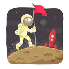 Astronaut landing on the moon and give a flag sign.