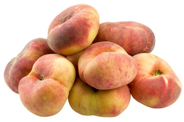 flat peaches on white background