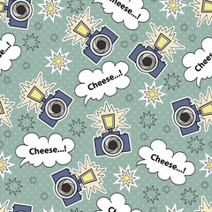 Vector seamless pattern with cartoon camera