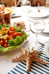 Restaurant table setting in sea theme