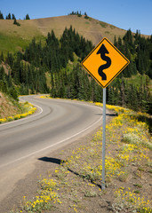 Road Sign Indicates Curves Ahead Mountain Landscape