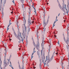 Gladiola seamless pattern