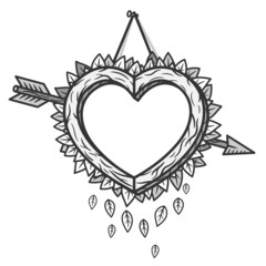 Heart wooden frame with arrow. Vector illustration.
