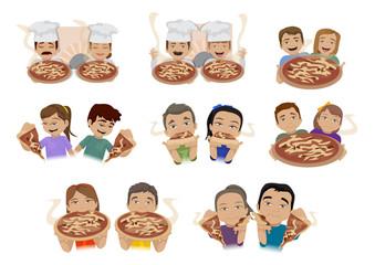 People Enjoy Eating Pizza Set - Isolated On White Background