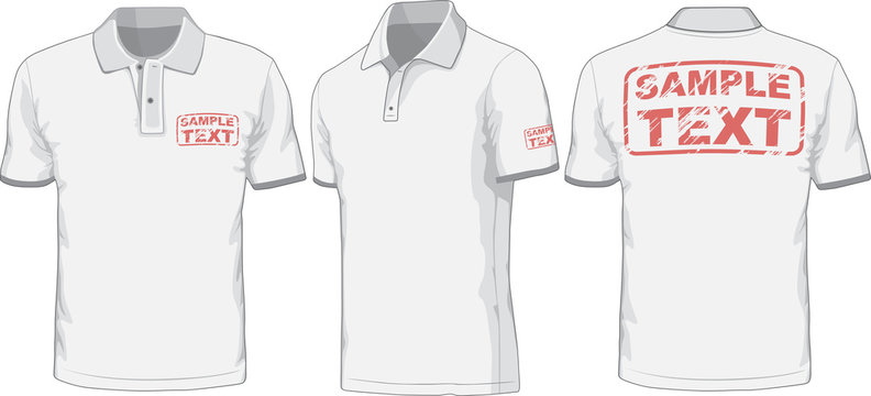 Front, back and side views of polo-shirt. Vector