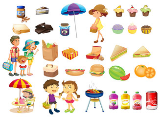 Set of things and foods for a picnic
