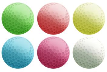 Six colourful balls
