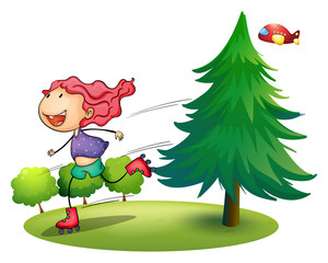 A girl rollerskating near the pine tree