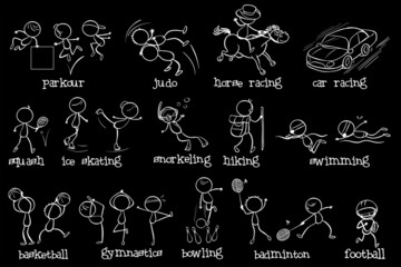 Doodle design of the different sports