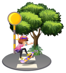 A girl skateboarding at the street