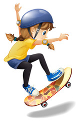 A female skateboarder