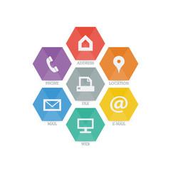Multipurpose Business Card Icon Set of geometric web icons.