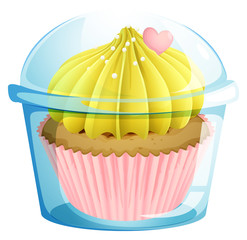 A cupcake inside the transparent container