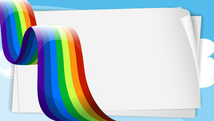 Empty bondpaper templates with a rainbow