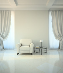 Room in classic style with armchair and coffe table