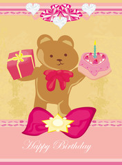 birthday card, sweet teddy bear holding a birthday cake