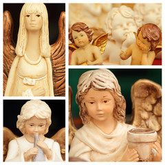 christmas angelic figurines collage