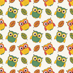 Background with owls and leaves. Vector seamless pattern.