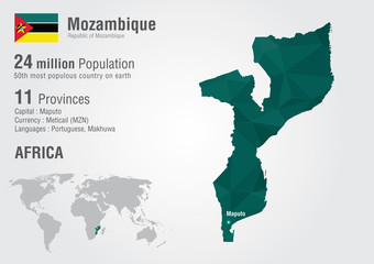 Wall Mural - Mozambique world map with a pixel diamond texture.