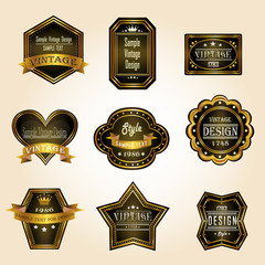 Glossy black gold vintage and retro badges design