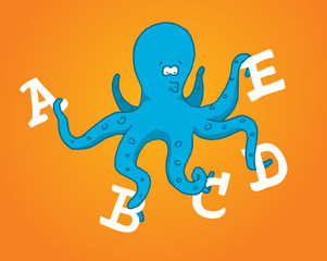 Multitasking octopus holding different letters