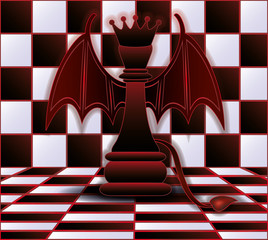 Chess Queen devil. vector illustration