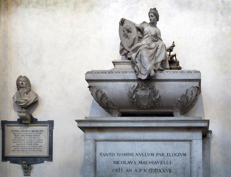 Niccolo Machiavelli's tomb in the Basilica of Santa Croce