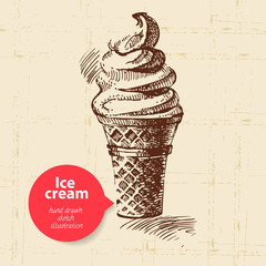 Vintage sweet ice cream background with color bubble.