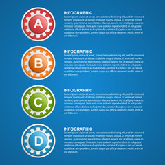 Color gears infographics design template. Vector illustration.