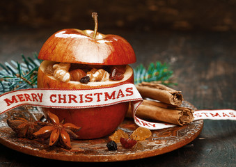 Christmas Apple with Anise, Lace, Cinnamon Sticks