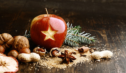 Sweet Red Holiday Apple on Wooden Table