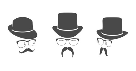 Vintage design elements set (hats, eyeglasses, moustaches)