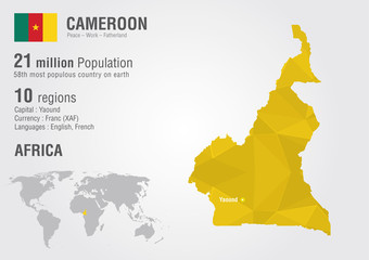 Wall Mural - Cameroon world map with a pixel diamond texture.