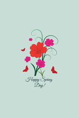 Vector illustration with flower butterfly and