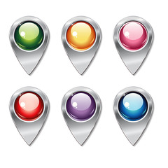Set of metallic map pointers with colored shiny buttons