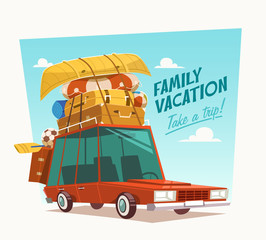 Family vacation. Vector illustration.