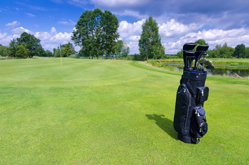 Golf bag on a green field