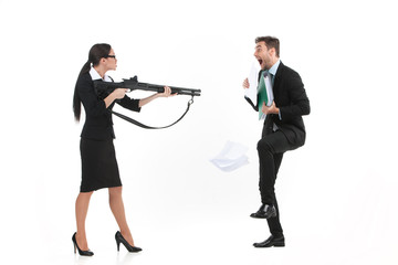 quarrel between man and woman over white background.
