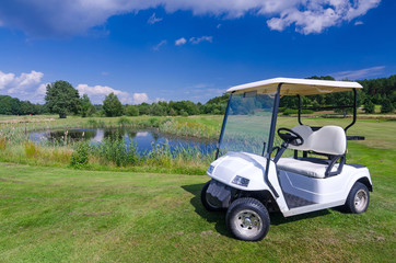 Golf car near the water pond