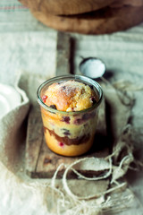 Layered fruity cake in a glass