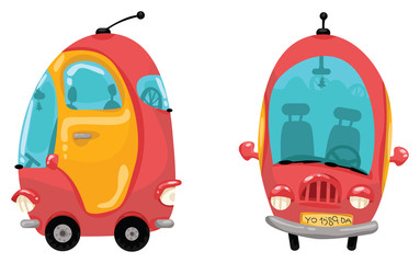 Cartoon colorful car - front and side view