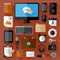 Concept of workplace. Flat icons