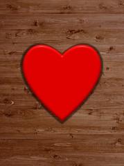 Holz Hintergrund und rotes Herz als Hintergrund